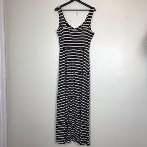 Anthropologie Dresses - Anthropologie Black Cream Striped Maxi Dress L A43